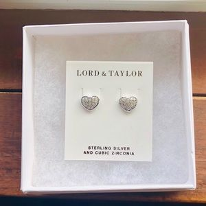 NWT Lord & Taylor Sterling Silver Heart Earrings